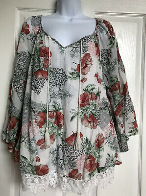 Style & Co Women's XL  Ivory Poppy Floral Peasant Boho Top with Lace Hem