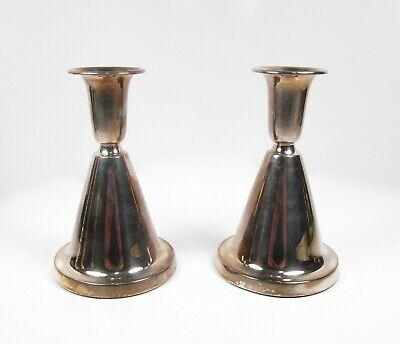 Pair T. Marthinsen Norway Mid Century 830S Silver Weighted Candlesticks Holders