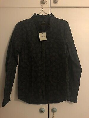 Asos Mens Shirt Black Grey Camo Size Large Camo Camouflage New With Tags!