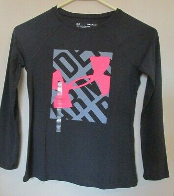 Under Armour Girls Youth Small YSM Black Long Sleeve Block Logo Tee NWT MSRP$25