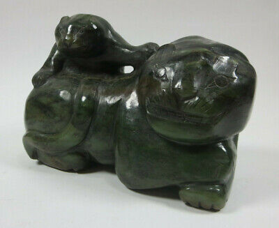Carved Jade LION AND CUB Solid Dark Green Chinese HEAVY 7 POUNDS