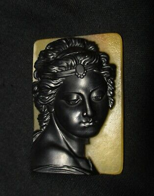 Carved Two-tiered Stone: Black Jade on a Yellow He-tian Jade - Portrait Pendant