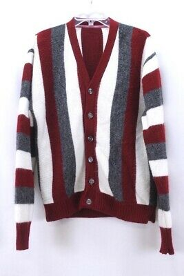 mens brick red gray stripe VINTAGE 60s fuzzy cardigan sweater acrylic M L