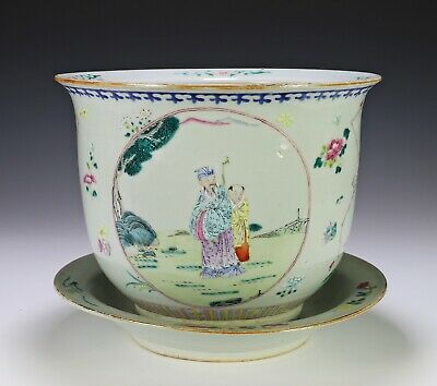 Large Antique Chinese Famille Rose Porcelain Planter Bowl with Under Plate