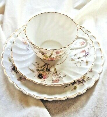 Victorian  Fluted Bone China Trio With Delicate Pink And Purple Floral Design