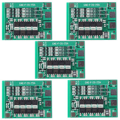 5Pcs 12V 25A 3S Polymer Lithium Battery 18650 Charger PCB BMS Protection Board