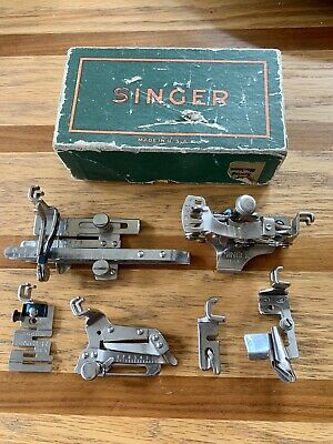 Vintage Singer Sewing Machine Low Shank Attachment Lot + Original Singer Box
