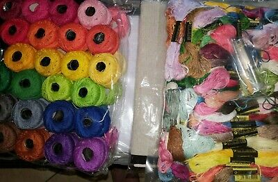Embroidery Bundle  Cloth Floss Aida Cotton Thread