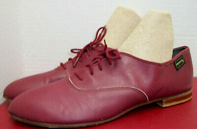 Wm CAPEZIO JAZZ DANCE Soft Leather Burgundy OXFORD SHOES Theater 9N Leather Sole
