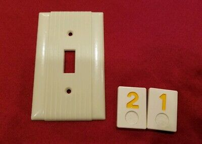 1 Ivory Vtg Ribbed Deco Single Gang Hubbell Switch Cover Plate Bakelite - Y21