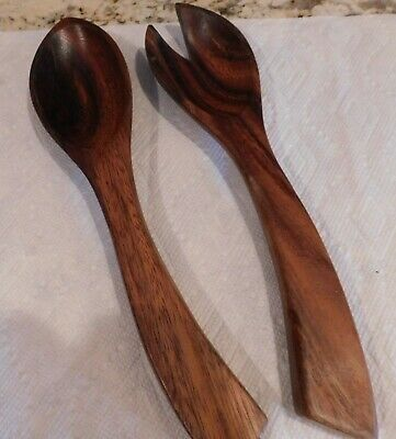 Vintage Mid-Century Hand-Carved Monkey Pod Wood Salad Serving Spoon and Fork