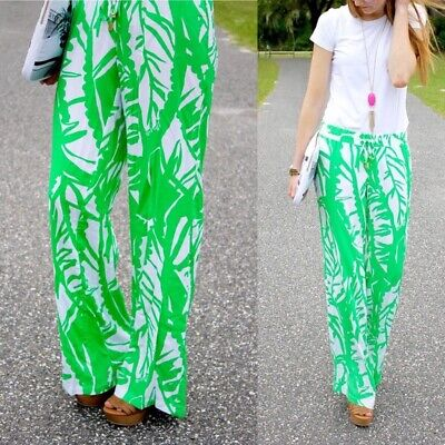 Lilly Pulitzer For Target Green Palazzo Pants Boom Boom Size S Pull On Wide Leg
