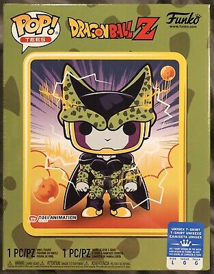 Funko Pop METALLIC PERFECT CELL Gamestop Exclusive with TEE Size LARGE Sealed