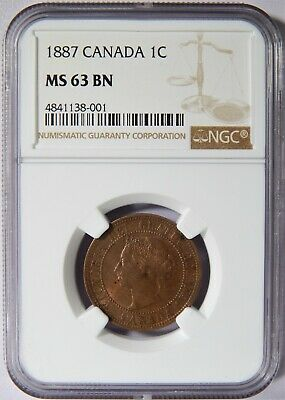 1887 Canada Large Cent Double Punched 7 NGC MS-63 BN 1c