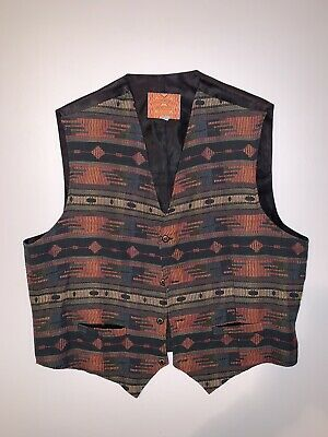 NATIVE AMERICAN TRADITION by ALLEN WAH Western Wear Aztec Made in USA sz XL Vest