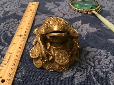 Good Luck Money Frog on Coins, made of brass