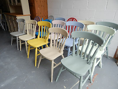 Refurbished Solid Wood Farmhouse Country Style Kitchen Dining Chairs Mix Colour