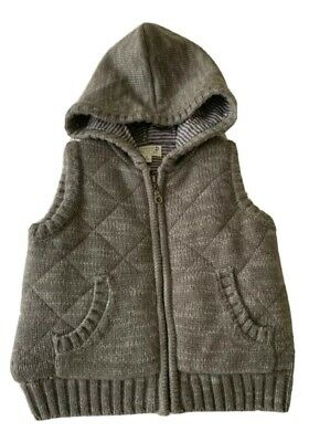 Boys size 2 PUMPKIN PATCH knitted lined padded grey vest hood warm