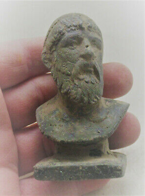 Circa 200 - 300 Ad Ancient Roman Bronze Bust Statue Of Senatorial Figure
