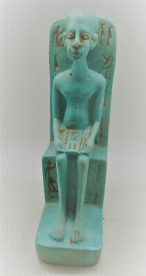 Lovely Vintage Egyptian Stone Carving Seated Pharoah Circa 500Bc Very Nice
