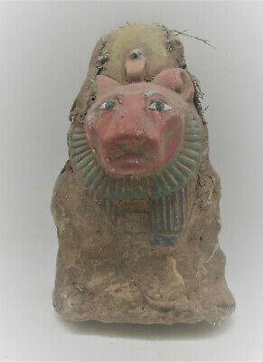Scarce Circa 700-500Bce Ancient Egyptian Stone Carved Sekhmet Bust Coptic Cloth