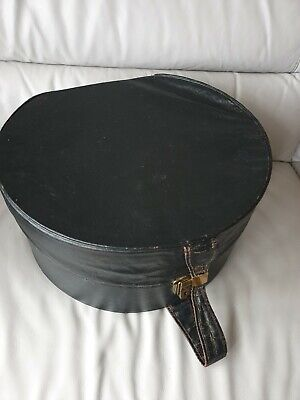 Vintage Antique Hat Box Black Duralinen Large PAT No.265429
