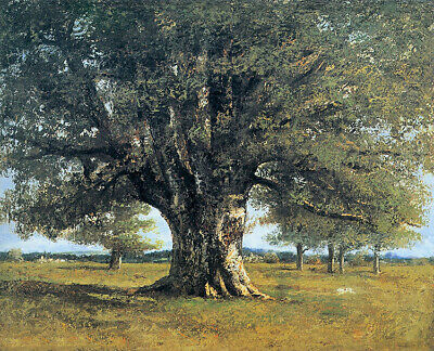 Oil painting gustave courbet the oak tree at flagey called the oak of vercingeto