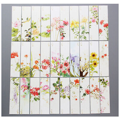 30pc Garden Flowers Floral Paper Bookmarks For Books Book Markers Readers Gift