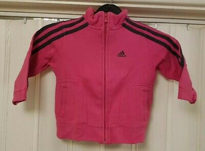 Girls Pink full Zip Adidas Tracksuit Top Size 1 - 2 Years D15 C