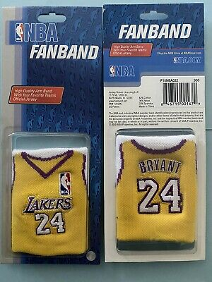 Rare Kobe Bryant La Lakers Set Of Two Embroidered Wristbands New In Packs