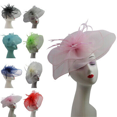 LARGE Fascinator Feather Flower Headband Party Hat Wedding Royal Ascot Race NEW
