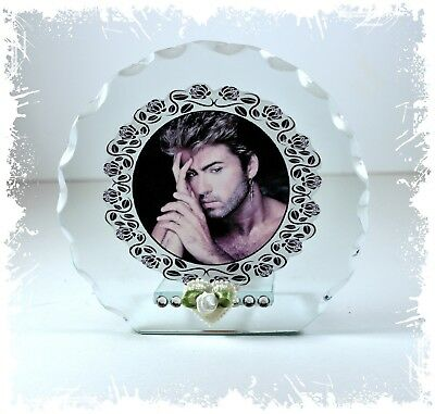George Michael Photo Cut Glass Round Frame Plaque Special Gift Ltd Edition #5