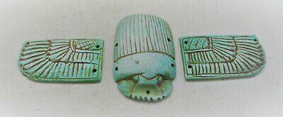 Circa 500 Bce Ancient Egyptian Glazed Faience Winged Scarab With Heiroglyphics