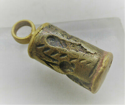 Ancient Near Eastern Hematite Bead Seal Pendant Gold Gilded Amulet