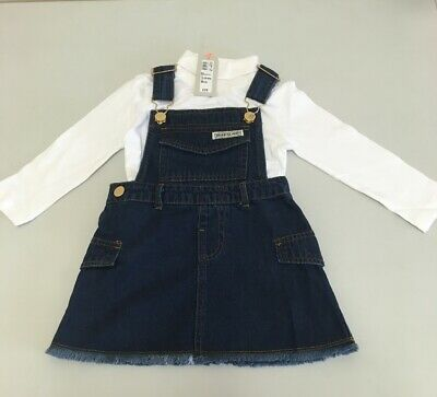 River Island Mini girls blue denim pinafore dress outfit RRP£25 {Z102}