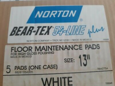 "5 Norton - Beartex 54 Line Plus Floor Maintenance Pads 13"" White High Gloss"
