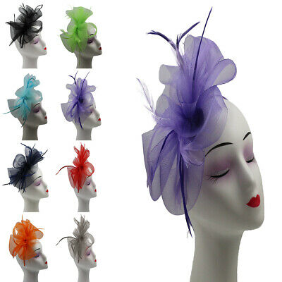SMALL Fascinator Flower Feather Mesh & Bow Headband Wedding Hat Royal Ascot NEW