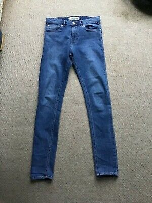 Boys Men's  Next Faded Blue Super Skinny Jeans Size 28R Stretch