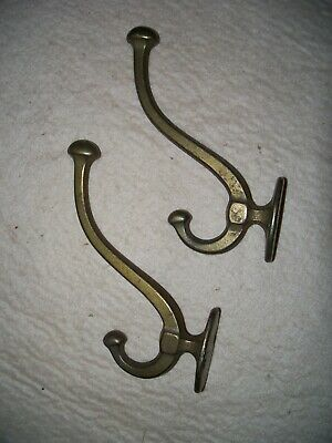 Antique Brass Coat Hooks, Old, Rustic, Wall Mount, Used, Gold Color