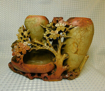 Vintage Chinese Soap Stone Carving Vase – Hand Carved Floral