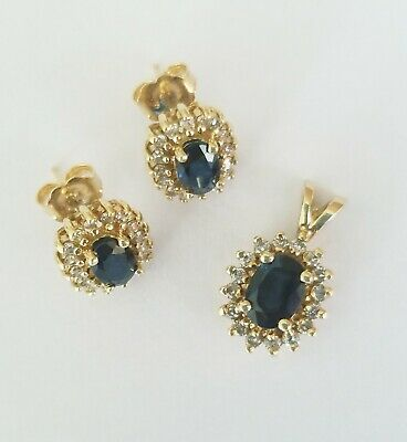 10kt Yellow Gold 1.10ct Blue Sapphire and Diamond Pendant with Matching Earrings