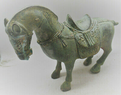 Beautiful Old Antique Near Eastern Bronze Horse Statuette 1700-1800Ad