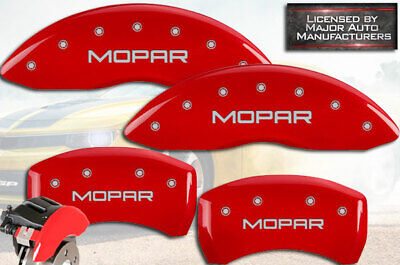 MGP Caliper Brake Cover For Dodge 2011-2017 Charger Black Fill on Red Paint