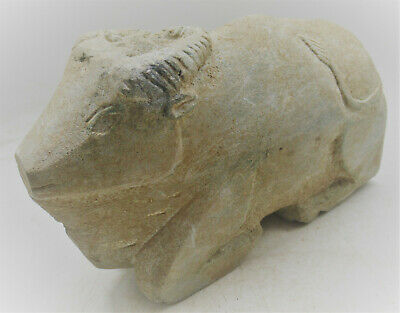 Scarce Ancient Western Asiatic Schist Stone Bull Statuette Superb