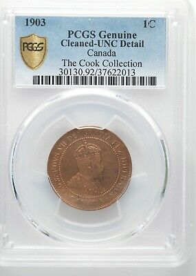 1903 Canada Large One Cent - Uncirculated (Cleaned) - from the Cook Collection