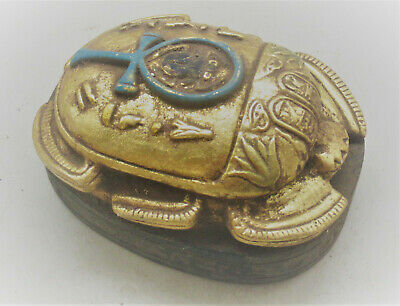 Beautiful Ancient Egyptian Stone Gold Gilt Scarab With Heiroglyphs