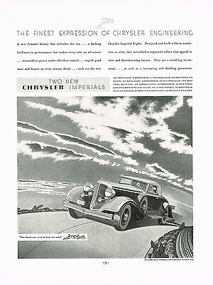 1933 BIG Vintage Chrysler Imperial Convertible Coupe Car Automobile Art Print Ad