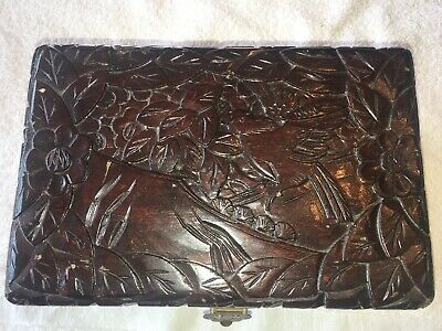 *RARE* VTG Chinese Deep Carved Birds Camphor Wood Trinket Box