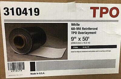 """Roofing  White -60 Mil Reinforced TPO Overlayment 9""""x50"""" Box/ 2 Rolls"""