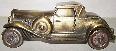 Vintage 1974 Bronze Metal Car Automobile Bank Banthrico Chicago Duesenberg ERROR